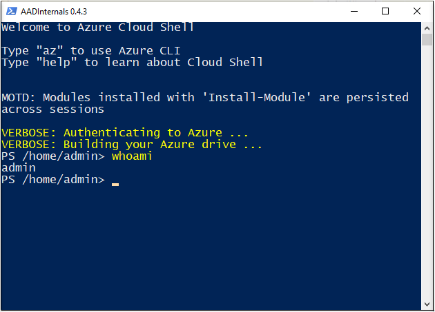 Using Azure Cloud Shell from PowerShell