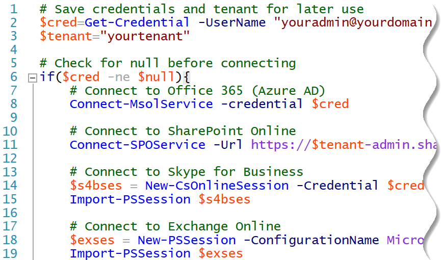 Using PowerShell profile to connect to Office 365
